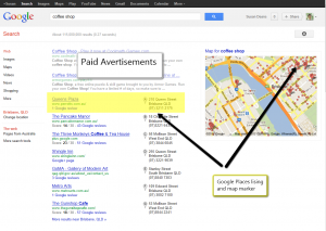 Example of Google Places Listing Results