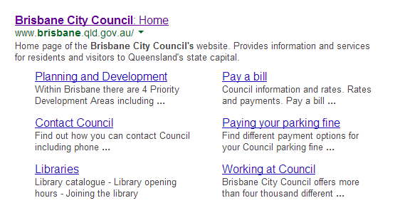 Example of Google Sitelinks for Local Government Website